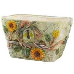 Кашпо кераміка з вуликом і соняшником 9х15,5х11,5см вн. 9х13,5х10см салатове