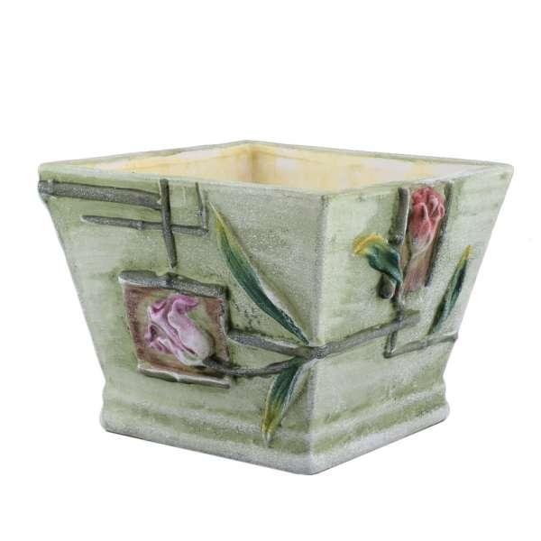 вазон керамический светло-зеленый с цветами, 9 см