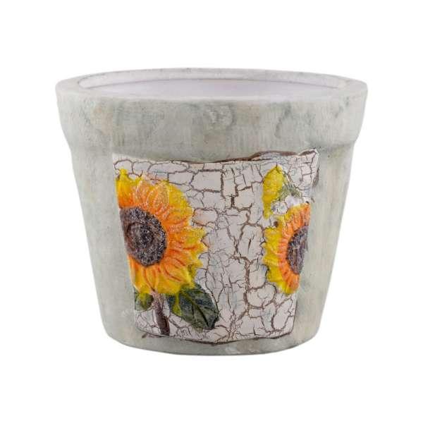 Кашпо керамика с подсолнухами 12х15х15см вн. 11х12,5х12,5см оливковое