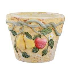 Кашпо керамика с фруктами 12х16х16см вн. 11,5х13х13см бежевое