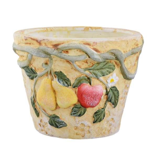 """вазон керам. кирпич с фото """"фрукты с лианой"""", 12 см"""
