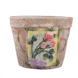 Кашпо керамика с розочками 12х15х15см вн. 11,5х13х13см бледно-розовое