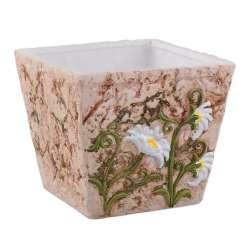 вазон керам. под мрамор с бел. ромашками, 12 см