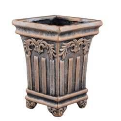 Кашпо в античном стиле керамика Колонна 16х12х12см вн. 14,5х9,5х9,5см под бронзу