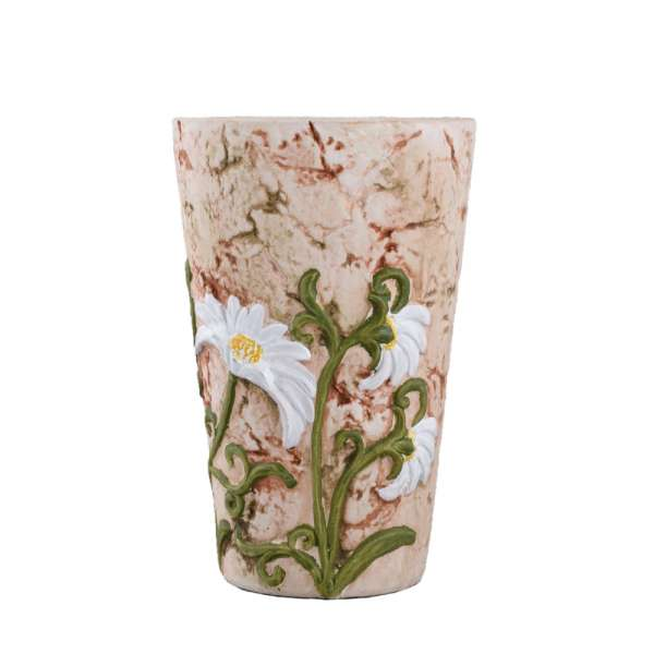вазон керамическая под мрамор с ромашкой, 17 см