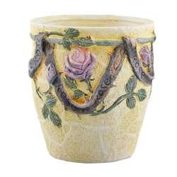 вазон керам. блідо-жовтий з трояндами lm 5174, 16см