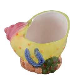 """вазон керам, """"черепашка"""" жовта в горох в 14 см. FYS061"""