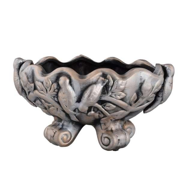 вазон керам. серебряный с птицами на 4 ножках, 13см