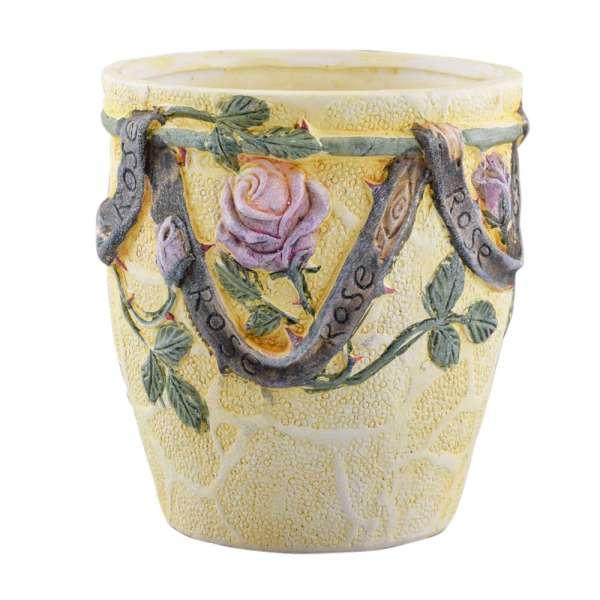 вазон керам. бледно-желт с розами  lm 5174, 18см