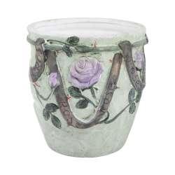 Кашпо керамика с розами 19х18,5х18,5см вн.18,5х16х16см зеленое
