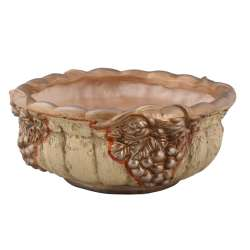 вазон для квітів круглий. плоский бежевий з виногр. арт.3273