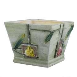 Кашпо керамическое квадрат 19x19x15 см светло-зеленое с объемным рисунком цветы