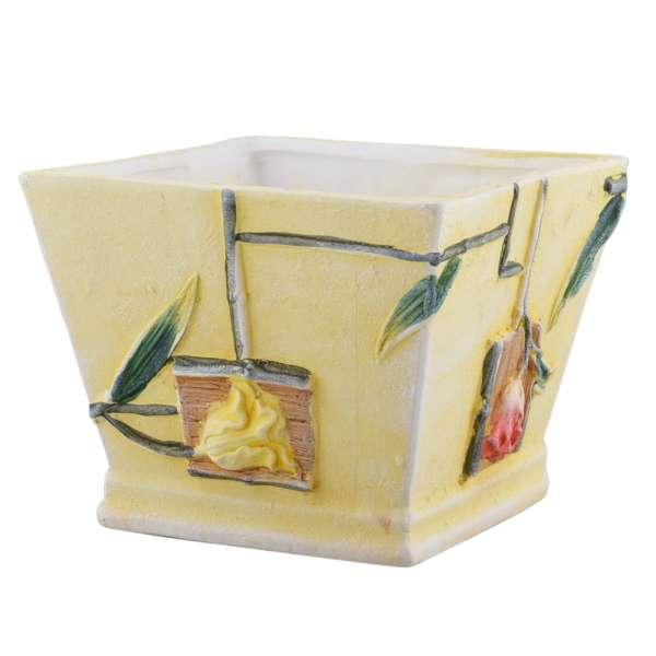 вазон керамический светло-желтый с цветами, 15см