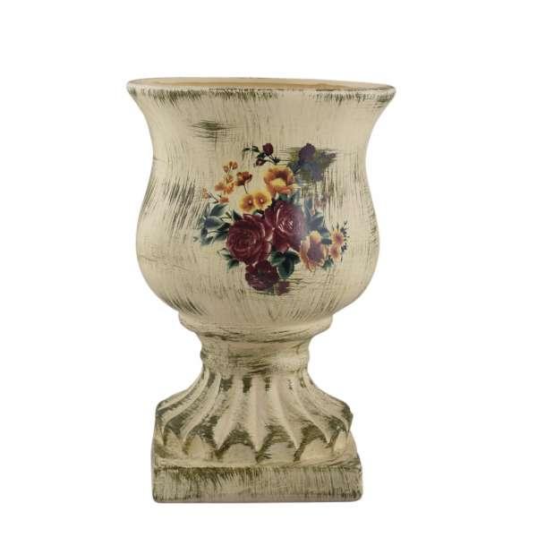 Кашпо в античном стиле керамика кубок с букетом 29х19,5х19,5см вн. 28х17х17см кремовое состаренное