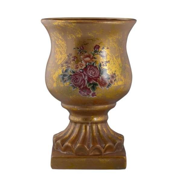 вазон керам. золото с букетом, 29см