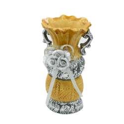 Ваза керамическая с ручками и цветком 17х10х8 см бежево-серебристая