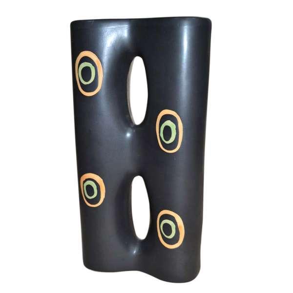 ваза керам. черная 2-секц. с овалами в центре, 30см