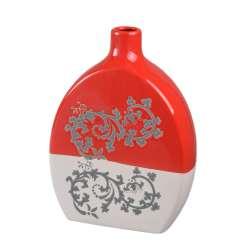 Ваза керамика с орнаментом серым 29 см красно-белая