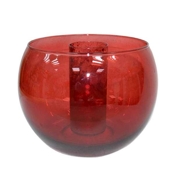 Ваза стеклянная шар 14,5х20 см красная прозрачная