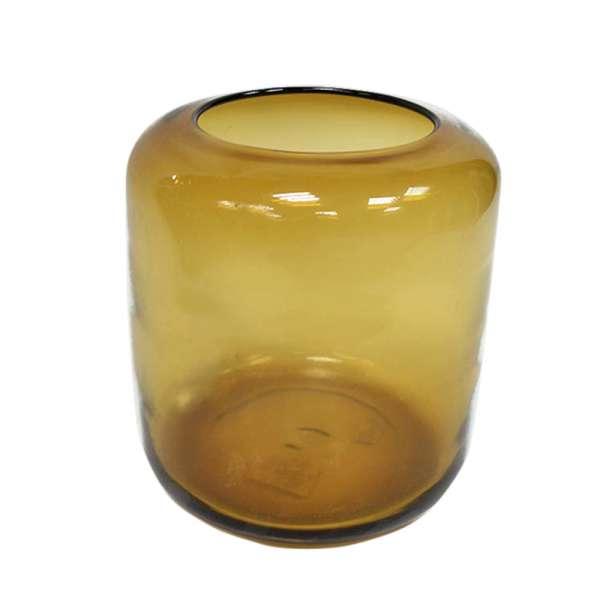 ваза бежево-желт стекл. 17 см