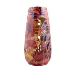 Ваза керамика перфорация сова листья цветы 24х11 см красно-фиолетово-желтая