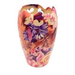 Ваза керамика перфорация с ажурным краем цветами 21х13 см оранжево-фиолетовая