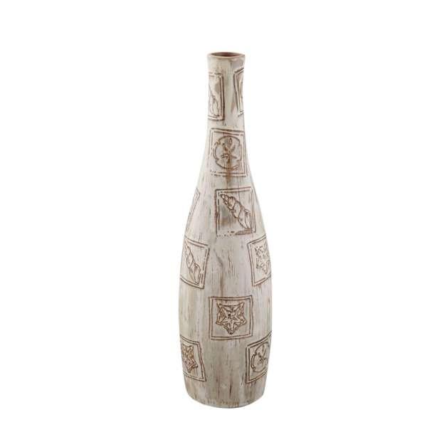 ваза св-серая с мор.ракушками в квадр., 42см