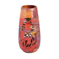 Ваза керамика перфорация сова абстракция 24х11 см красно-оранжевая