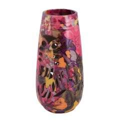Ваза керамика перфорация сова листья цветы 24х11 см розово-фиолетовая