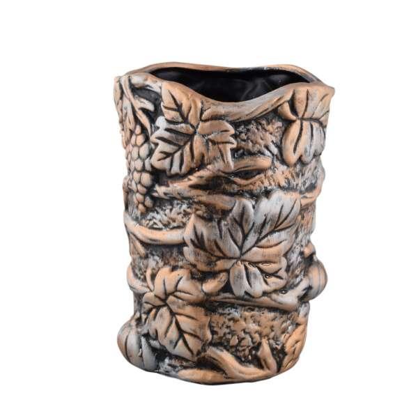 ваза керам. бронзовая с листьями, 24см