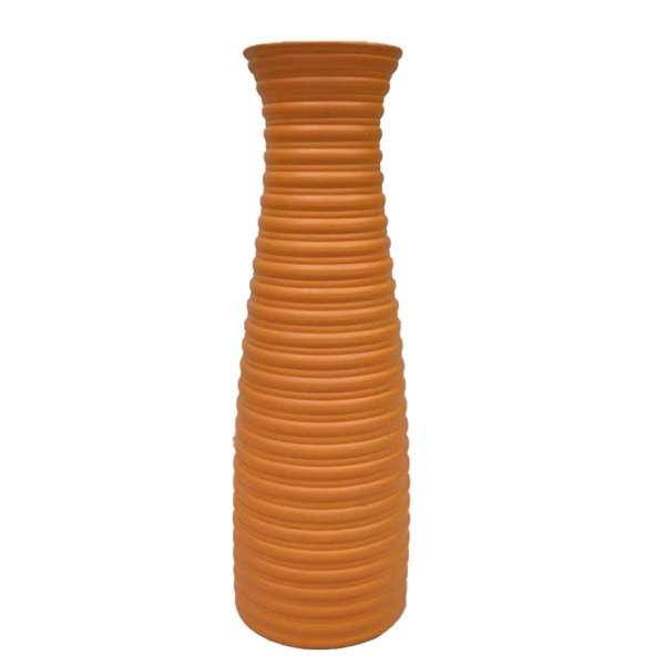ваза керам. оранжевая гофрированная, 46см