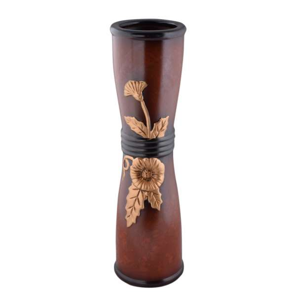 ваза керам. круглая тем-корич. с золот.цв и спиралью 50 см