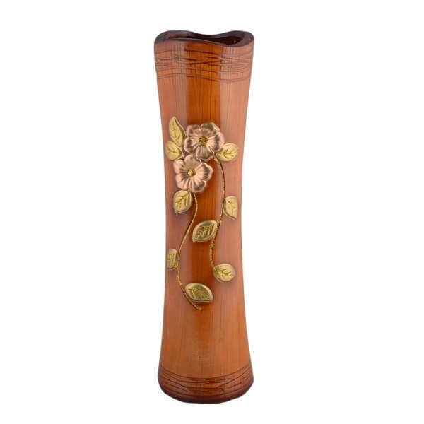ваза керам. бежевая кругл.с веточ.цв. и волн.верхом 51см
