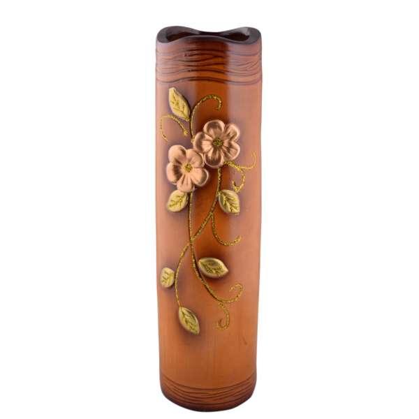 ваза керам. круглая беж-желтая с 2 цветами, 50 см