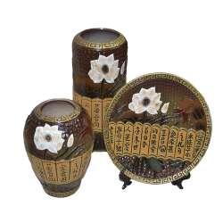 набір керам.3 предм. корич-бежевий з квітами, 2 вази 1блюдо
