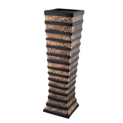 Ваза для підлоги кераміка горизонтальні смуги 60 см золотисто-чорна