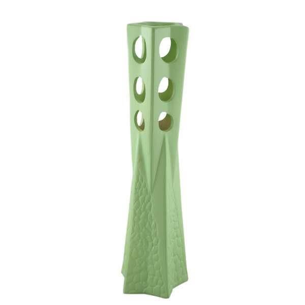 ваза керам. св-зеленая граненая с дыр. и рельефом, 60см