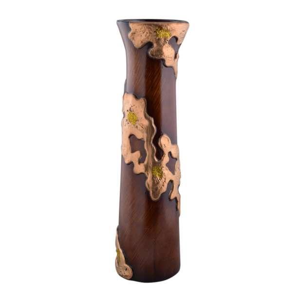 ваза керам. коричневая со спиральным золот.рис. 62см