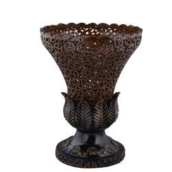Ваза в китайском стиле полистоун перфорация ореховый срез Цветок 30х23х23 см коричневая