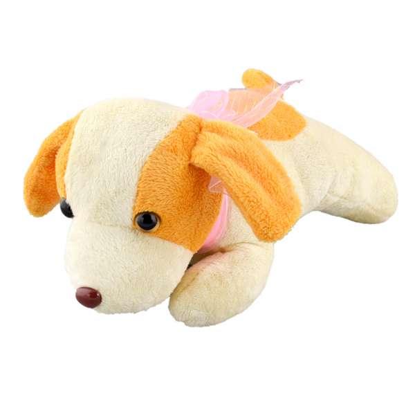 собака молочная с желтыми ушами и розовым бантом