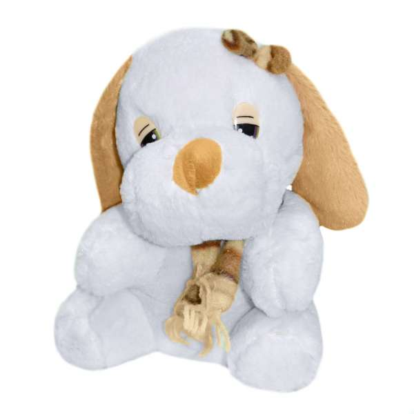 мягкая игрушка Собачка белая с дл. рыжими ушками, 22 см