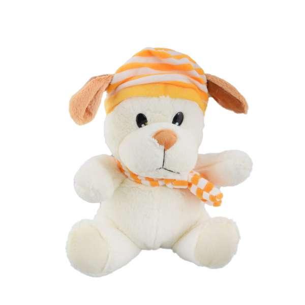 собачка  в шапке  с шарфом
