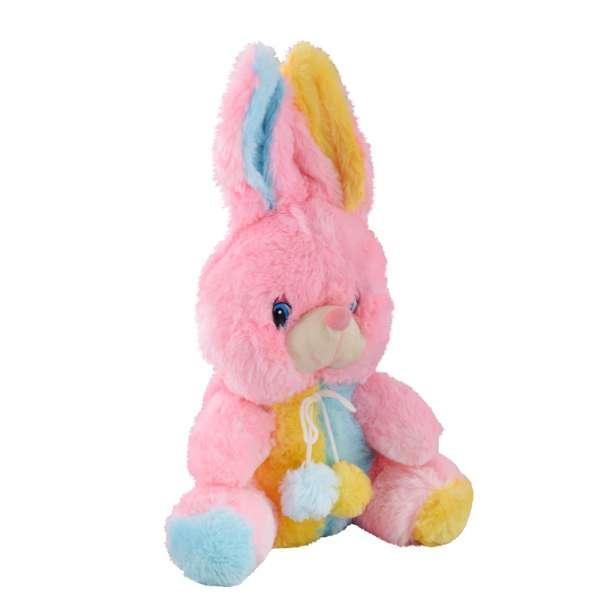 Мягкая игрушка зайка 28 см розовый с желтой и голубой отделкой