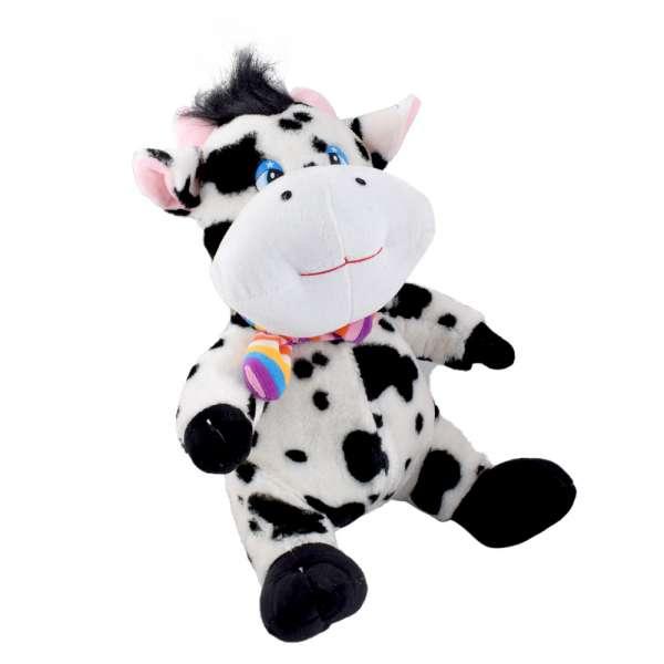 Мягкая игрушка корова сидит 35 см пятнистая белая с черным