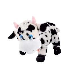 Мягкая игрушка корова стоит 40 см высота 28 см пятнистая белая с черным