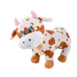 Мягкая игрушка корова стоит 40 см высота 28 см пятнистая белая с рыжим