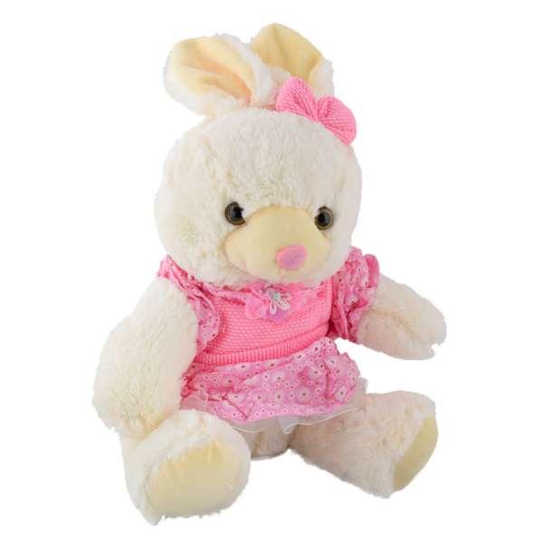 мягкая игрушка Зайка белый в роз. платье с бантиком, 32 см