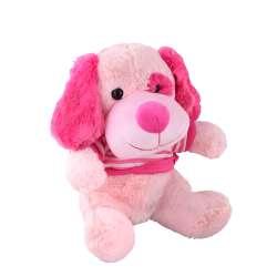 собака блідо-рожева в кофтині велика, 35 см
