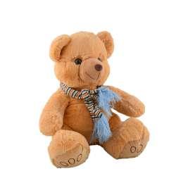 ведмедик бежевий з блакитним шарфиком в смужку, 40 см