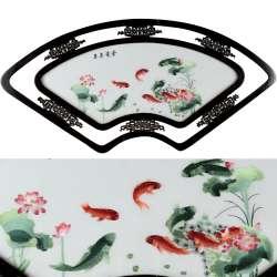 Картина вишита гладь віяло рибки 118х55см